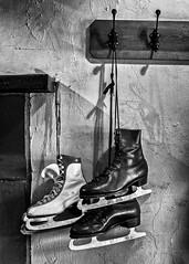 Hanging Ice Skates (Paul Weller Photography) Tags: bw ice mono blackwhite skating hanging hook skates