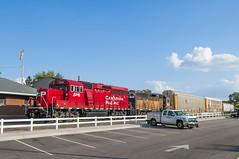 Hastings Local Power (mtuswan) Tags: railroad train depot hastings sooline soo railyard mn sunnyday canadianpacificrailway grainhoppers autocarriers localpower hastingsrailyard