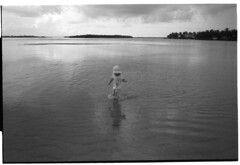 At the sandbar (The Ugly Tourist) Tags: blackandwhite film d76 wading acros