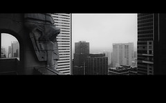 over.look (jonathancastellino) Tags: city roof urban toronto film rooftop face skyline architecture analog corner 35mm haze downtown arch head perspective hasselblad ear cbd analogue cinematic xpan rooftopping
