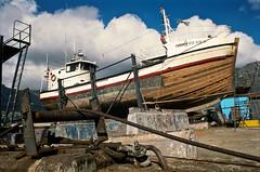 Fiskorn (gawiedutoit) Tags: film southafrica harbour repair fishingboat houtbay velvia50 ricohtls401 rikenon50mmf17