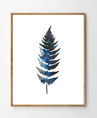 Fern no.1 by Stellaire Studio (StellaireStudio) Tags: blue black fern art nature floral forest ink watercolor painting print botanical watercolour ferns florals decor walldecor artprint stellaire