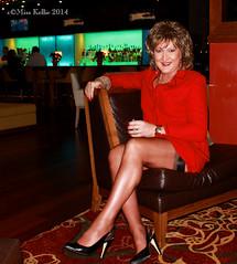Christmas Stockings (Miss Kellie Keene) Tags: woman sexy stockings beautiful leather lady vintage gold necklace italian downtown highheels legs smooth transgender kansascity suit blonde earrings kc lovely elegant flashing saks vixen silky anklet nylons slingback cubanheel seamed rht 15denier misskellie