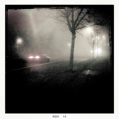 Fog_3 (soilse) Tags: cameraphone road trees ireland dublin cars weather misty fog outdoors day darkness traffic streetlights branches foggy mobilephone footpath carlights ucd app taillights whiteline roadway cellphonecamera iphone 2014 lightandshade blackeys lowvisibility ultrachrome iphonephoto iphonecamera iphoneapp iphonography foggyconditions hipstamaticapp hipstamaticcamera blackeysultrachrome november2014 rahenyroad