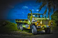 Old Wrecked Truck HDR (leonardrandle1) Tags: old sky color colour tree beach beautiful coral truck relax island high sand colorful dynamic vibrant palm leisure colourful humvee amateur range hdr guam micronesia