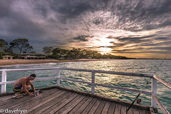Another day ends (THE SMOKING CAMERA HeRvEy BaY davefryer) Tags: ocean sunset art canon lens photography golden bay coast pier photo seaside fishing flickr dragon image candid jetty magic wide award hour hervey fraser torquay shores herring 6d 1635mm