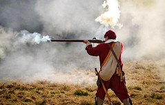 Musket Fire, England, UK (Beardy Vulcan) Tags: autumn england fall soldier fire october war 17thcentury hampshire civilwar weapon basingstoke firearm 2014 musket musketeer oldbasing basinghouse englishcivilwarsociety