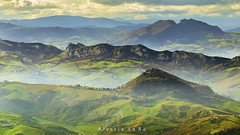 Dreamland (Alessio Lo Re) Tags: trees light sunset shadow italy cloud sun mist mountains color tree green colors fog clouds landscape lights countryside rocks warm italia sanmarino ray shadows view zoom country dream deep hills tele distance dreamland