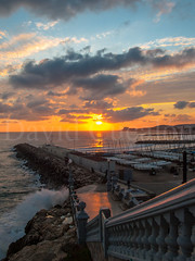 Sunset over the sea (David Cucaln) Tags: sunset sea sky costa sun seascape sol clouds landscape coast mar mediterranean mediterraneo cel olympus cielo nubes puestadesol escaleras nuvols 2014 e510 cucalon davidcucalon