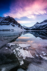 FrozenBowLake (Mike Mezeul II Photography) Tags: winter sunset canada cold water frozen nationalpark pretty alberta banff bowlake