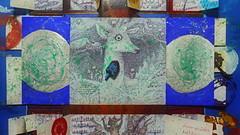 """Happy Festive Days! Frhliche Feiertage! - """"Conclusion: Come in and you will have fun"""" - Playing with a dreydl dipped in green ink - """"Tritt ein und du wirst deine Freude haben"""" Dreidel in grne Tinte getaucht auf silbernem Gouache Spiegel auf blauem Grund (hedbavny) Tags: vienna wien christmas blue schnee winter red brown white holiday snow game rot window angel ink silver circle weihnachten festive austria mirror sterreich advent candle play fenster spiegel diary kerze silence cycle owl letter meditation engel braun hebrew blau adventcalendar celebrate tagebuch tinte impression tr adventkalender spiel uhu hanukkah aktion gyroscope chanukka silber kreis metamorphose feiertag stille rosine narrenturm eule gugelhupf weis kreisel gugging fermate dreydl spintop festtag aktionismus zyklus kthibhend hedbavny ingridhedbavny wochenbuch"""
