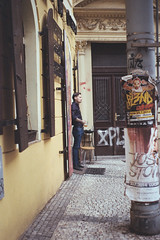 Untitled (katherine.anne.) Tags: summer portrait people man slr film lens person 50mm europe republic czech prague pentax k1000 candid study abroad analogue 2014