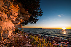 Fayette Limestone in the Sunset (The Charliecam) Tags: sunset landscape michigan lakemichigan fayette canon6d michigansupperpeninsula rokinon14mm