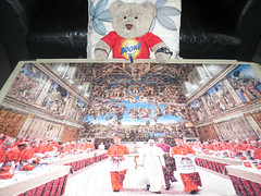 I likes the wallpaper! (pefkosmad) Tags: bear ted pope vatican rome toy francis stuffed soft teddy fluffy hobby puzzle leisure jigsaw sistinechapel pastime clementoni 1500pieces tedricstudmuffin papafrancesco