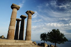 Columns and clouds (sonofwalrus) Tags: tree slr canon turkey ruins columns middleeast pillars behramkale templeofathena eos7d