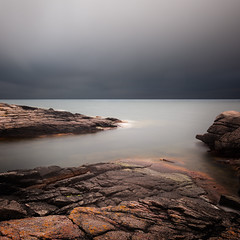 The Quiet Before the Storm (panfot_O (Bernd Walz)) Tags: longexposure sea seascape storm color water coast rocks mood wind dusk atmosphere balticsea shore colorized contemplation bornholm waterscape ndfilter