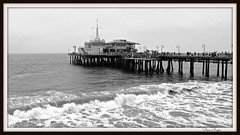 Santa Monica Pier (Steve Major) Tags: sea usa water monochrome pier waves santamonica santamonicapier calfornia stevemajor panasonictz70