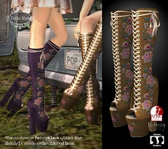Petite Mort- Hendrix embroidered suede boot (Petite Mort- Outfitting the modern bohemian) Tags: sl second life indie teepee event midsummer fashion accessories boho bohemian fantasy roleplay embroidery hippie hippy fairy mesh belleza slink fitmesh maitreya petite mort petitemort