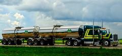 Jade Transport Rollin' Down the Highway in Eastern Manitoba (ezigarlick) Tags: jadetransport winnipeg manitoba hauling tankers bigrig semi truck peterbilt logistics