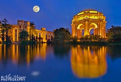 Night-Palace (Nualchemist) Tags: sanfrancisco blue light moon reflection water night evening centennial twilight pond exterior roman columns illumination wideangle architectural fullmoon historical bluehour palaceoffinearts 100yearsold stylish 1905 romanstyle panamapacificinternationalexposition ancientlook architecturalbeautylandmark