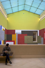 Tate Britain (jeremyhughes) Tags: color colour london art colors architecture 35mm reading mural gallery colours fuji artgallery tate interior skylight stairwell staircase fujifilm fujinon tatebritain humanfigure xf23mmf14r fujifilmxe2