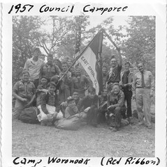 Red Ribbon (rfulton) Tags: camping boy camp blackandwhite children boyscouts scouts scoutcamp summercamp scouting bsa