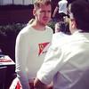 Sebastian Vettel stops to talk to Pasquali #vettel #f1 #ferrari #FerrariF1 #Melbourne #AusGP #Australia #driver #paddock #racing #Saturday #German #italian