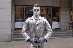 Silver Man (Brian Aslak) Tags: street man guy statue silver living europe artist prague praha ham czechrepublic busker czechia staréměsto česko českárepublika tjekkia tšehhi namůstku