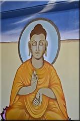 Double Colour-Buddha (Jo-Happy 5th B-Day Shizandra :)) Tags: blue orange brown restaurant beige mural buddha annapurna onthewall doublecolour 1855mmlens powderbluealmond