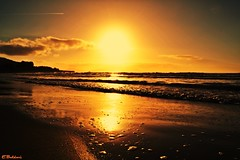 Golden Beach (Emykla) Tags: sunset sea italy sun reflection beach water golden nikon italia tramonto mare campania napoli sole acqua riflessi 2015 torregaveta d3100