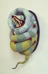 """""""Curious"""" (MelissaSueArt) Tags: art valencia monster square stuffed handmade embroidery teeth exhibition plush squareformat demon beetlejuice stitched timburton softsculpture sandworm distinctiongallery iphoneography instagramapp uploaded:by=instagram nightmareinwonderland"""
