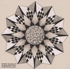 Mandala on coloured card stock (Amaryllis Creations) Tags: mandala coloredpencil zentangle