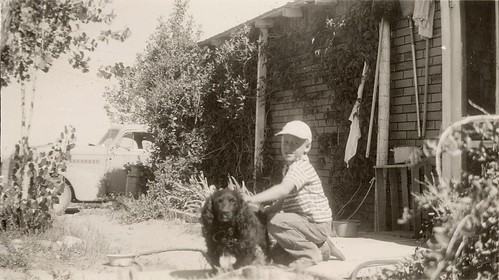 Ed with a dog - Jensen, UT, Jul 1950
