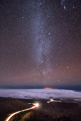 Night Lines (Lance Sagar) Tags: road sky usa cloud mountain car night canon way stars island lights volcano hawaii big cone space trails astro galaxy astrophotography hi hilo mauna kea milky starry celestial cinder 6d cloudline