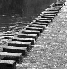 contrasts (Mr Ian Lamb) Tags: wet water river uniform soft chaos hard smooth dry steppingstones rough morpeth