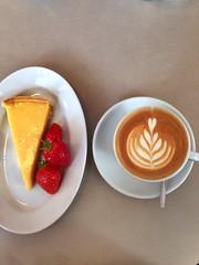 Cappuccino and Lemon Tart (Lameen) Tags: coffee cappuccino latteart lemoncake lamarzoccostrada viennacoffeeshops