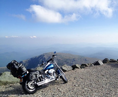 Mt Washington Summit Bike (joelhd82) Tags: sky usa mountain mountains clouds america landscape automobile view scenic newengland newhampshire whitemountains mtwashington harleydavidson motorcycle overlooking americathebeautiful mountwashington motorcycletrip