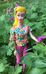5. In the Geranium (Foxy Belle) Tags: vintage barbie doll color magic band clips outfit floral top outside mattel yellow lemon garden flowers plant