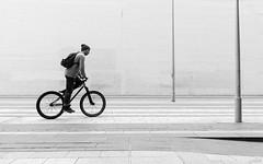 Cross the line (Julien Rode) Tags: street paris sport nb portfolio rue ville vlo urbain personnage beaugrenelle