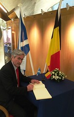 Signing Book of Condolence for victims of Brussels terror attacks