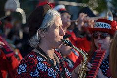 FORWARD! in Red (Torsten Reimer) Tags: red musician woman usa boston portraits us unitedstates massachusetts unitedstatesofamerica band somerville northamerica forwardmarchingband