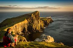 Best of Friends (cliveg004) Tags: sunset sea sky lighthouse skye scotland rocks cliffs borderterrier bestoffriends neistpoint