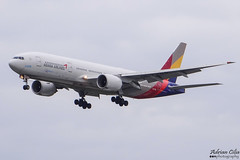 Asiana Airlines --- Boeing 777-200ER --- HL7755 (Drinu C) Tags: adrianciliaphotography sony dsc hx100v lhr egll plane aircraft aviation asianaairlines boeing 777200er hl7755