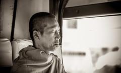 Thailand - Monk (Cyrielle Beaubois) Tags: portrait blackandwhite bus thailand asia bokeh south thalande southeast noirblanc 2015 canoneos5dmarkii cyriellebeaubois