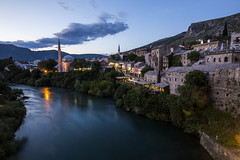 Mostar oldtown (ravnhenkel) Tags: blue night canon mostar bosnia hour 6d 2016