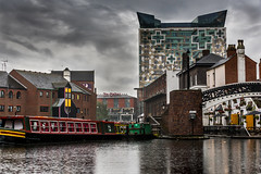 Gas Street basin in the wet (Slimdaz) Tags: door windows people streetart reflection window water darren skyline architecture buildings canal birmingham cityscape pentax candid barge thecube waterscape darrensmith pentaxda50135mm cityofcolours pentax18135mmwr slimdaz k3ii darrensmithimages