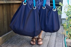 pair of blue Ikea bags (foxthreads) Tags: beach bag sewing gym tote