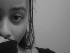 Shy Self in Black and White (Uniqueful) Tags: portrait people blackandwhite bw white black girl monochrome up self close indoor shy