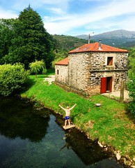 ready for a swim! (ekelly80) Tags: portugal amonde june2016 summer minho vianadocastelo countryside view water creek house stone stonehouse beautiful mountains swim green grass scenery