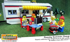 Family Summer Camp (EVWEB) Tags: family summer camp table tv woods lego barbeque caravan creator camper minifigure 31052